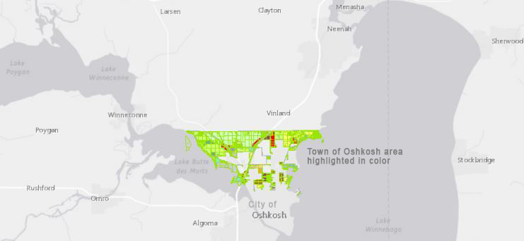 Town of Oshkosh has miles of shorelines areas, rural farmland, and urban areas. Pop. 2477.