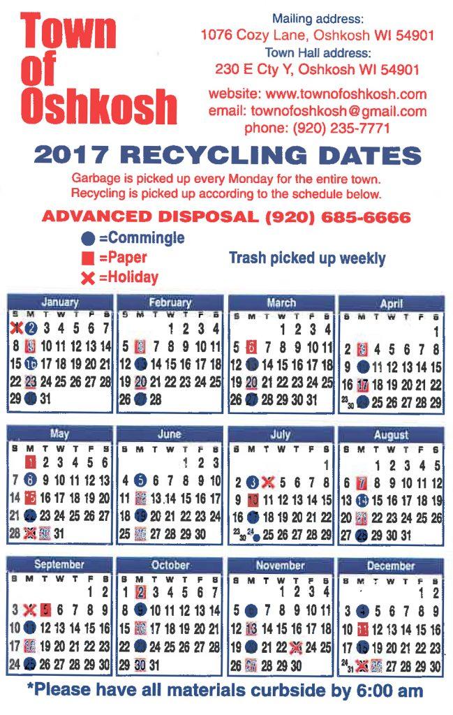 2017 Recycle Calendar