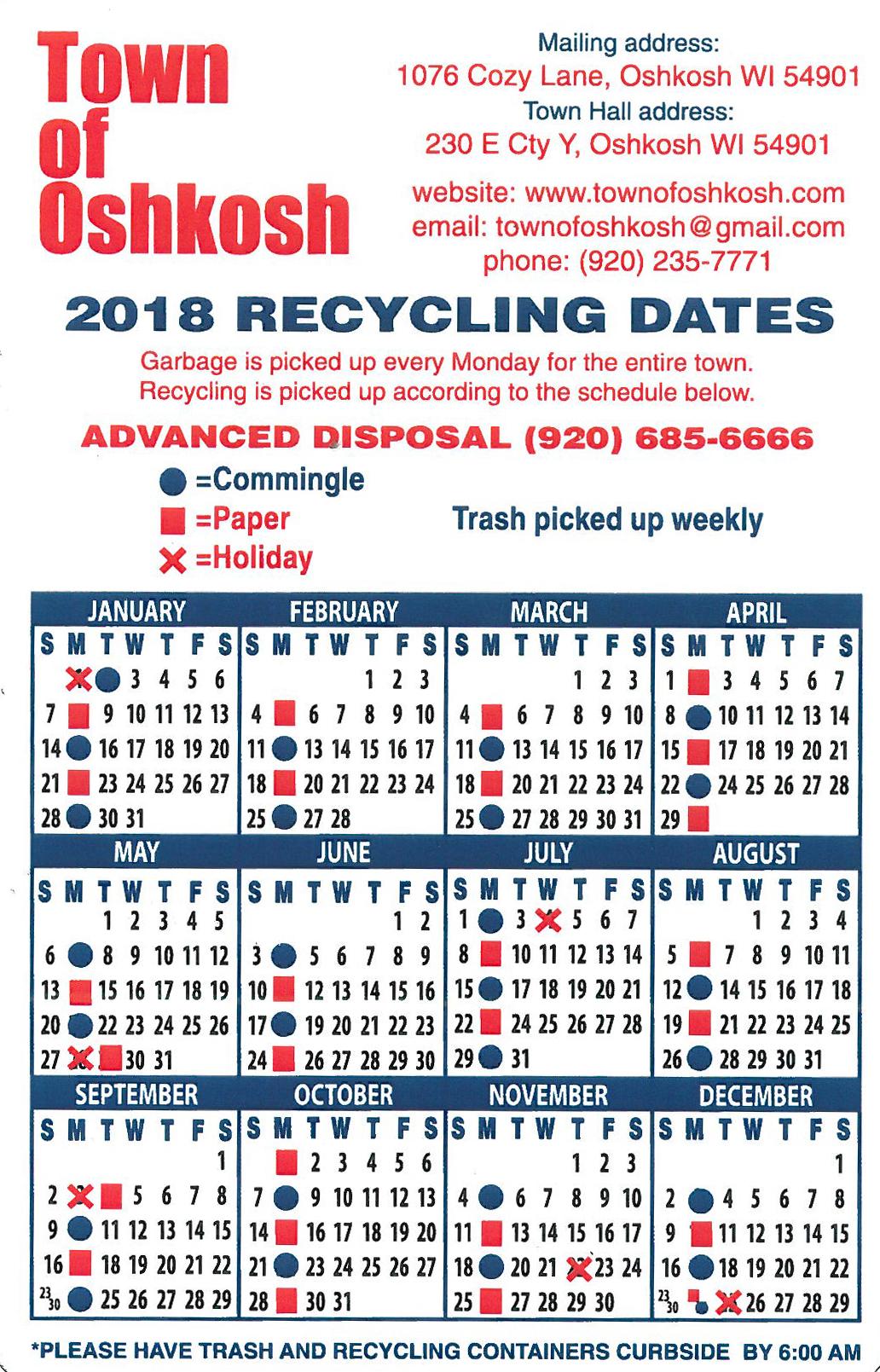 2018 Recycle Calendar