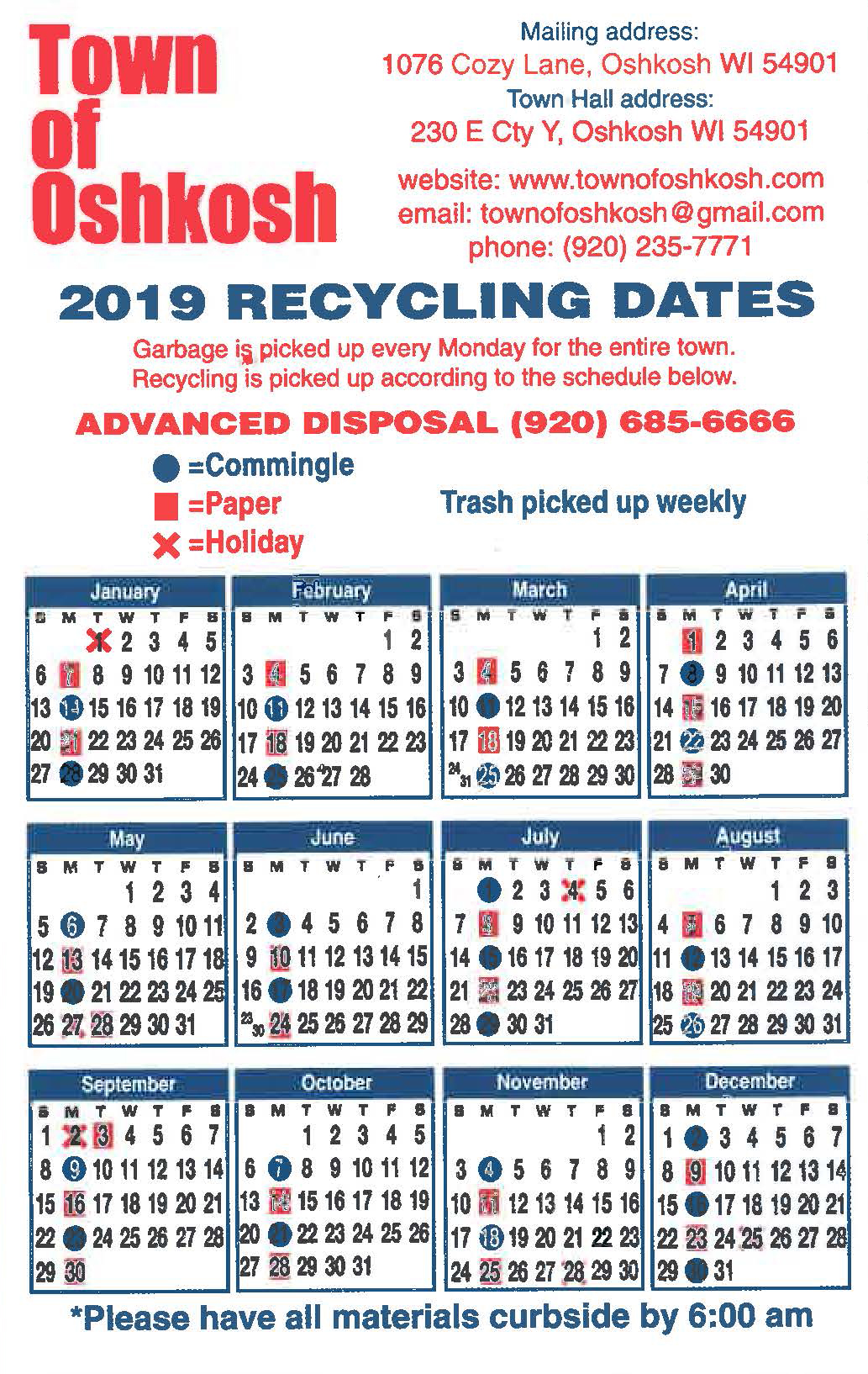 2019 Recycle Calendar Magnet TnOsh