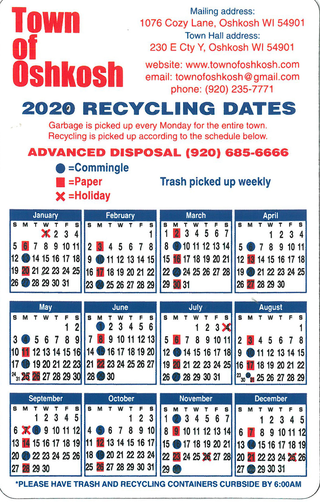 2020 Recycle Calendar Magnet
